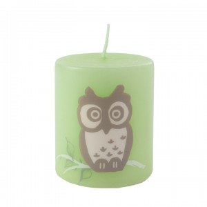 Kerze Happy Owl, Grün, 50-60