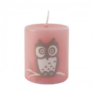Kerze Happy Owl, Pink, 50-60