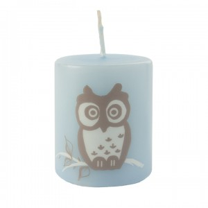 Kerze Happy Owl, Blau, 50-60