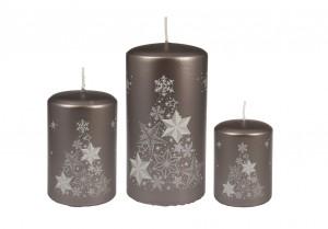 Weihnachtsbaumkerze Braun-grau